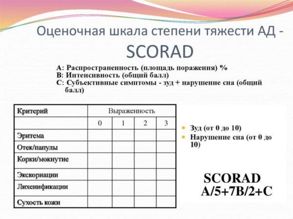 Оценочная шкала степени тяжести атопического дерматита - SCORAD